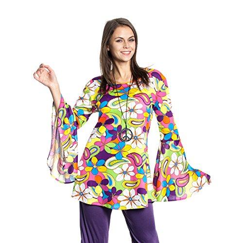 Für Jahre Kostüm Damen 60er - Kostümplanet® Hippie-Kostüm Damen Top Flower Power Outfit 60er Größe 40/42