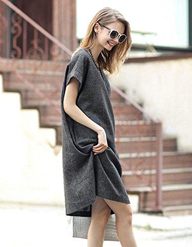 BININBOX Damenkleider grau Sommerkleid Kurzarm Rundhals Kleid Knielang Grau