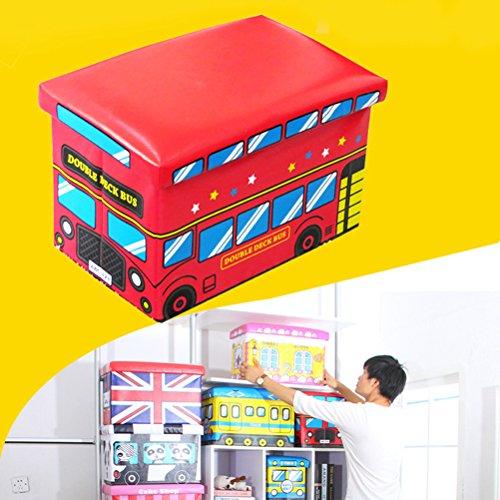ounona Kids almacenamiento caja asiento color rojo camión de bomberos de juguete