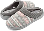 CIOR Fantiny Women's Memory Foam House Slippers Sweater Knit Embroidered Pattern and Ribbed Hand-Knit Co