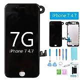 Ecran de remplacement pour iPhone 7 4.7 'Noir Ecran LCD avec Digitizer Ecran Tactile Assemblage Complet +Caméra Frontale+ Écouteur + Protecteur d'écran gratuit + Kit d'outils de réparation