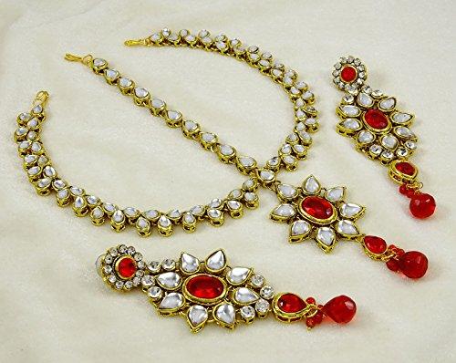 Banithani traditionnel Goldtone mariée Collier Set Bijoux cadeau pour elle Bordeaux