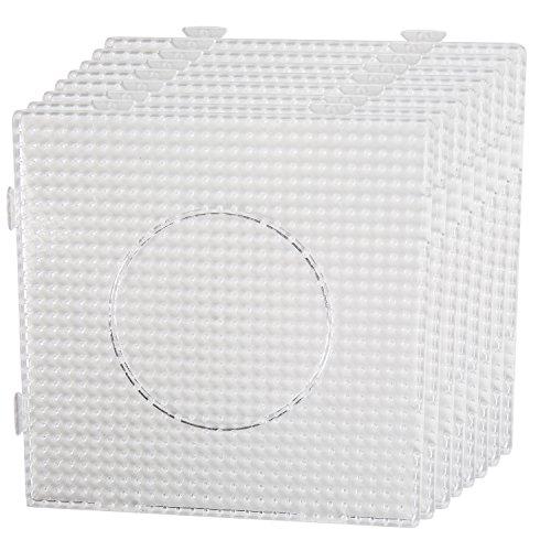 Smowo 8 Bügelperlen Platten - Steckplatten Quadratisch und transparent - zusammensteckbar mit Stiftplatten - 14,5 x 14,5 cm (Durchsichtigen Kunststoff-platten Quadratisch)