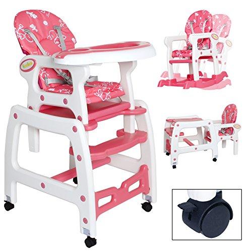 Seelux beweglicher 3 in 1 Multi Kinderhochstuhl mit Schaukelfunktion, Rollen mit Bremse, verstellbar (Pink)