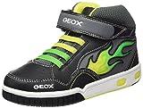 Geox Jungen JR Gregg A Hohe Sneaker, Schwarz (BLACK/LIMEC0802), 28 EU