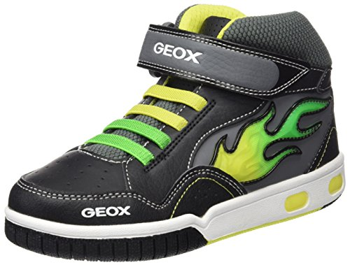 Geox Jungen Jr Gregg A High-Top, Schwarz (Black/LIMEC0802), 35 EU