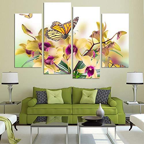 jjshily Decorazione Home Art Quadri su Tela 4 Pannello Bella Farfalla Orchidea Fiori Stampa Poster Parete per Soggiorno Modulare Senza Cornice