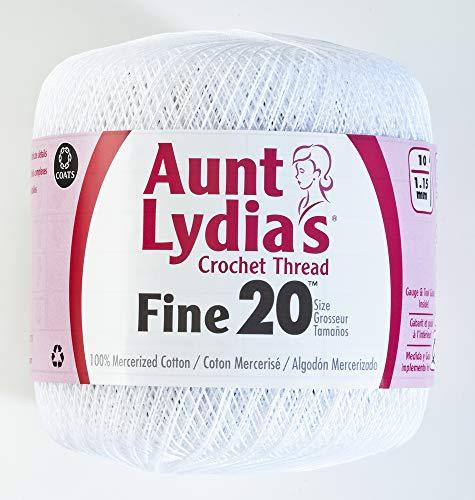 Coats Crochet Tante Lydia 's Crochet, Baumwolle Feine Größe 20, weiß