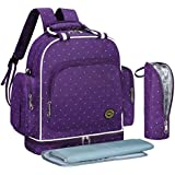 S-ZONE Multi-function Baby Diaper Bag Backpack With Changing Pad And Portable Insulated Pocket (Purple Dot)