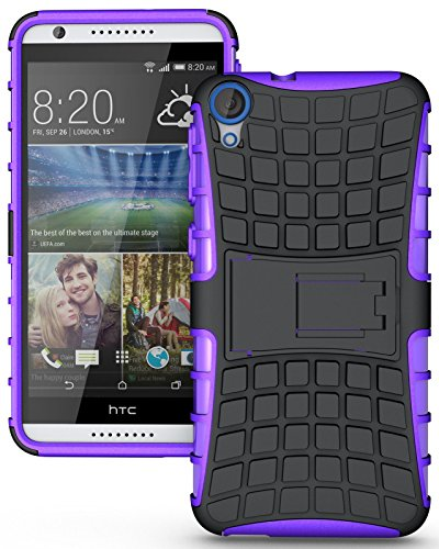 Heartly Flip Kick Stand Spider Hard Dual Rugged Armor Hybrid Bumper Back Case Cover For HTC Desire 820 820Q Dual Sim - Frame Purple