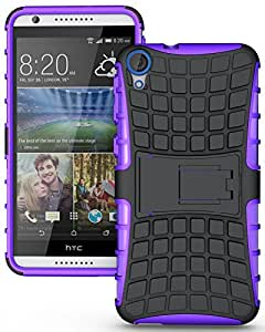 Heartly Flip Kick Stand Spider Hard Dual Rugged Armor Hybrid Bumper Back Case Cover For HTC Desire 820 820S 820Q 820G+ Plus Dual Sim - Frame Purple