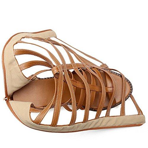 COOLCEPT Damen Mode Open Toe Sandalen Cut Out Blockabsatz Schuhe Mit Zipper Gelb