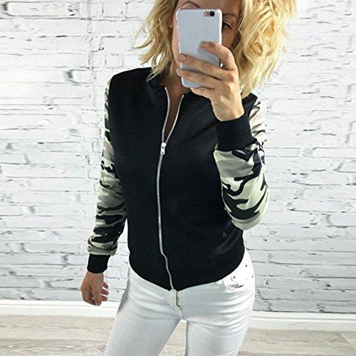 Molie Mode Veste Blouson Manteau Coat Populaire Veste imprimée Fleur sans Capuche Pour Femme Noir
