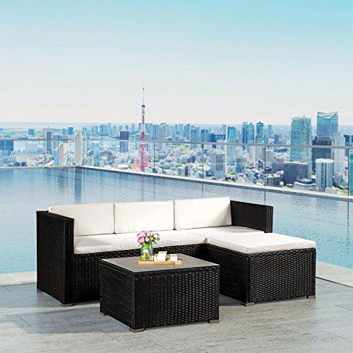 Polyrattan Lounge Punta Cana M für 3-4 Personen mit Tisch in schwarz mit Bezügen in Creme | ArtLife