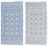 Bersuse 100% Baumwolle - Teotihuacan Türkisches Handtuch - Badestrand Fouta Peshtemal - Azteken Design auf Handwebstuhl gewebtes Pestemal - 100X180 cm, Grau-Blau