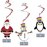 6 Christmas Hanging Spiral Swirl Party Decorations Garland Party Supplies - Santa Snowman Penguin