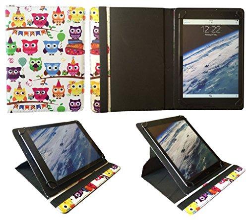 AlpenTab Almrausch 10.1 Zoll Tablet Bunt Eule Universal 360 Grad Drehung PU Leder Tasche Schutzhülle Case von Sweet Tech