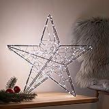 SnowEra LED Weihnachtsbeleuchtung in warmweiß | Weihnachtsdeko aus Metall in Schwarz | Höhe: 48 cm | Weihnachtsstern mit 200 Micro LEDs | Stern für Weihnachten |nur für innen geeignet