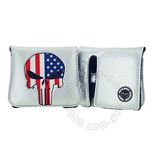 19th Hole Custom Shop Schlägerhaube mit US-Flagge Punisher Skull Golf High MOI Schlägel Putter Schlägerhaube rechts Kopf Silber -