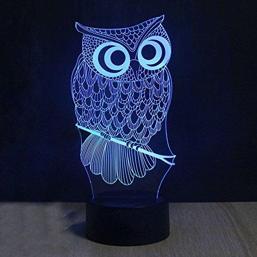 Lampe 3d Illusion Lichter der Nacht, kingcoo verstellbar 7Farben LED Acryl 3d Creative Stereo Touch Switch Visual Atmosphäre Licht Tisch, Geschenk für Weihnachten Modern Eule - 3