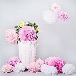 15 Pompones de Seda colores Blanco/Rosa claro/rosa (ø20,25,35 cm)