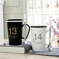ZHGI Vetro Ceramica amanti Cup la tazza con coperchio tazza di acqua 1 cucchiaio di latte il caffè pomeridiano cup,1314 b/w
