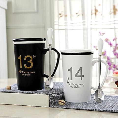 KHSKX Vetro Ceramica amanti Cup la tazza con coperchio tazza di acqua 1 cucchiaio di latte il caffè pomeridiano cup,1314 b/w