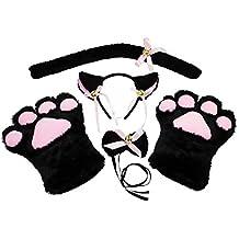 KEESIN Conjunto de Cosplay de Gato Guantes de Garra de Felpa Orejas de Gatito de Gato