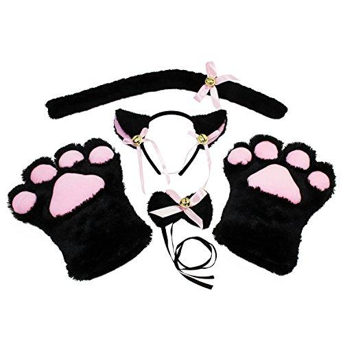 KEESIN Katze Cosplay Set Plüsch Klaue Handschuhe Katze Kätzchen Ohren Schwanz Kragen Pfoten Cute Adorable Party Kostüm Set für Kinder und Erwachsene (Schwarz)