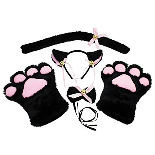 KEESIN Katze Cosplay Set Plüsch Klaue Handschuhe Katze -
