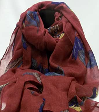 Burgundy feather leaf scarf maxi scarves ladies accessory gift present head scarves scarf