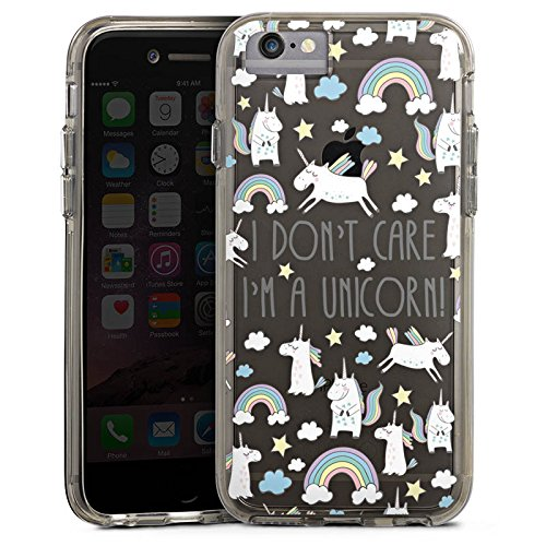 Apple iPhone X Bumper Hülle Bumper Case Glitzer Hülle Transparent mit Motiv Spruch Einhorn Bumper Case transparent grau