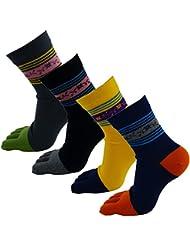 Mujer de algodón rayas–Deportes de tobillo de Grip Cinco Completo Calcetines de cinco dedos de 4Pack