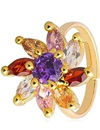 Shining Jewel 24k Gold Plated Facy American Diamond FInger RIng For Women (SJ_4142)
