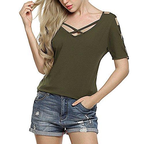 T-Shirt Damen,Sommer Kurze Ärmel Tops Kreuz Bandage Kurzärmlige Bluse Tops Slim Fit Pullover T-Shirt Mit Rundhals Resplend