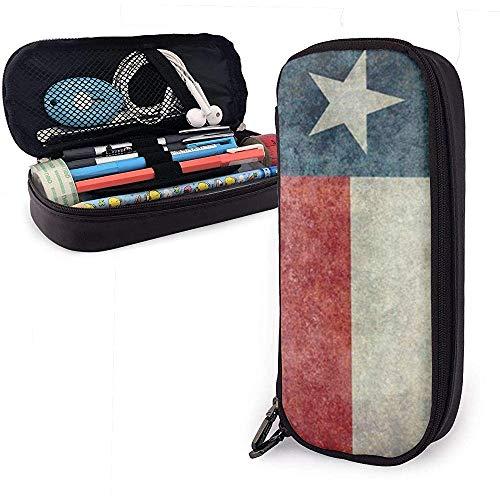 Texas State Flag Nette Stift Federmäppchen Leder Große Kapazität Doppelreißverschlüsse Bleistift Tasche Stifthalter Box 20 cm * 9 cm * 4 cm