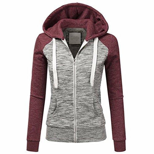 Bekleidung Damen,TWBB Herbst beiläufige lange Hülsen dünne Reißverschluss-Kontrast Kapuzenpulli Jacken Mantel (XL, (Kostüme Gruppe Film Einfache)