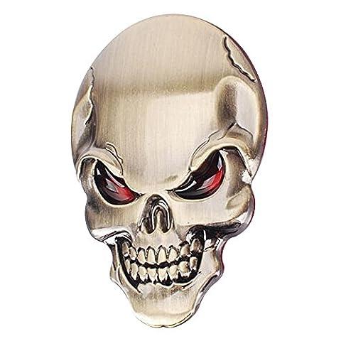 Eizur 3D Auto-Aufkleber Schädel Zink Legierung Metall Auto Motorrad Aufkleber Skelett Knochen Emblem Badge Car Styling Zubehör Größe (Leopard Knochen)