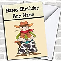 Western Cowboy Birthday Card With Envelope, Can Be Fully Personalised, Dispatched Fast & Free