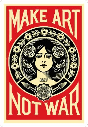 Art not War (Size W7.6 x H11 Centimeter) Car Motorcycle Bicycle Skateboard Laptop Luggage Vinyl Sticker Graffiti Decal Bumper Sticker
