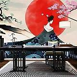 Sushi japonais restaurant papier peint japonais fleur de cerisier Dame papier peint papier peint restaurant fond peinture murale @ [sans soudure] 8D cristal sculpté tissu mural