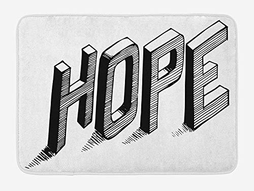 Hope Bath Mat, Sketch Letters with Stripes Spelling Hope Hand Drawn Calligraphic Arrangement, Plush Bathroom Decor Mat with Non Slip Backing, 23.6 W X 15.7 W Inches, Black And White