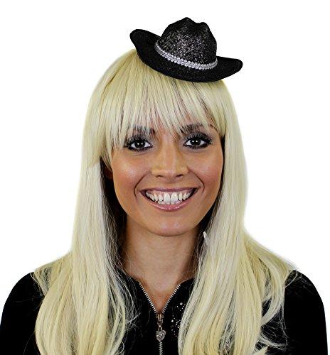 ILOVEFANCYDRESS GLITZER COWBOY FACINATOR HUT IN SCHWARZ MIT BEFESTIGUNGS KLAMMERN TOLLES ZUBEHÖR FÜR JEDE PARTY ODER FASCHING UND SILVESTER=12 SCHWARZE COWBOY FASCINATOR (Halloween-kostüme Dallas In)