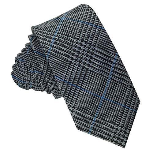 GASSANI Tweed Woll-Krawatte Kariert, Schmale Dünne Flanell Herren-Krawatte Wolle Baumwolle Twill, Anthrazit-Graue Dunkel-Graue Schwarze Blaue Karos