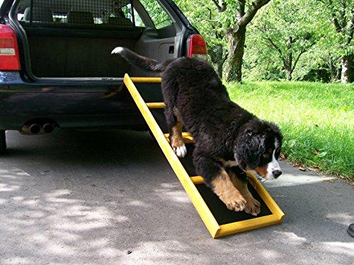 """Easy-Hopper Hunderampe / Hundetreppe / Einstiegshilfe \""""Standard\"""" imprägniert mit Feinriefengummimatte"""
