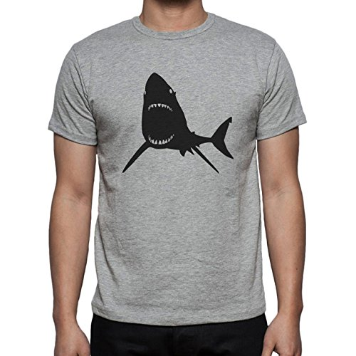 Shark Sea Fish Predator Big Mouth Herren T-Shirt Grau