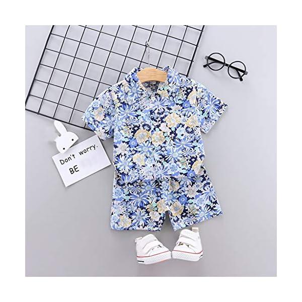 YWLINK Traje De NiñO De 1-4 AñOs Verano Mezcla De AlgodóN Camisa con Estampado Hawaiano Camiseta Casual De Manga Corta… 3