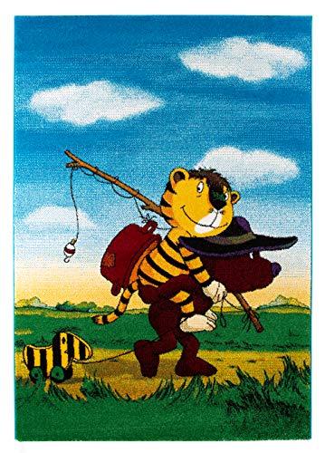 Janosch Kinderteppich Kinderzimmer Spielteppich Mit Tigerente Design Ökotex, Größe:160 x 230 cm, Farbe:Tigers Reise