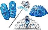 Eisprinzessin Kinder XXL Set Kostüm Königin Diadem Krone Zauberstab Rock Schuhe Verkleidung Kleid Mädchen Elsa