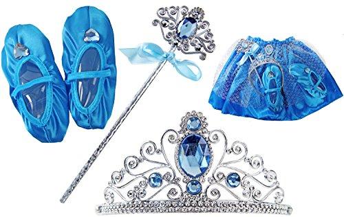 Eisprinzessin Kinder XXL Set Kostüm Königin Diadem Krone Zauberstab Rock Schuhe Verkleidung Kleid Mädchen (Frozen Kostüm Kleinkind)